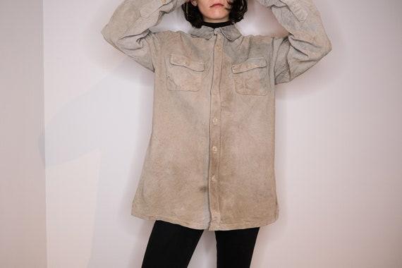 Ash leather shirt - Pale Grey Leather Shirt - image 4