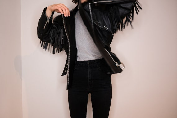 Fringed biker leather jacket - Blakc Leather Biker