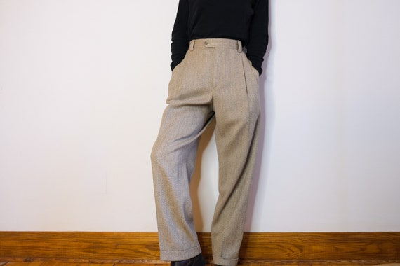 Heather Beige High-Waisted Wool Pleated Trousers