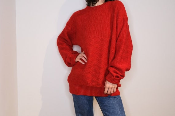Borsalino Red Mohair Crewneck Knit Sweater