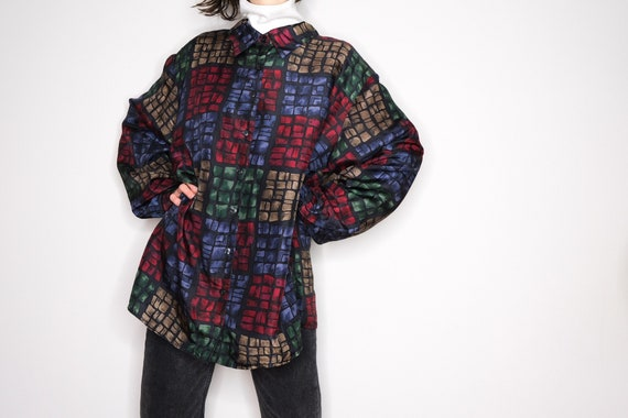 80's Patterned Pure Silk Shirt