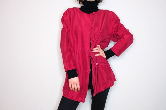 Cranberry Red Pure Silk Buttoned Vest