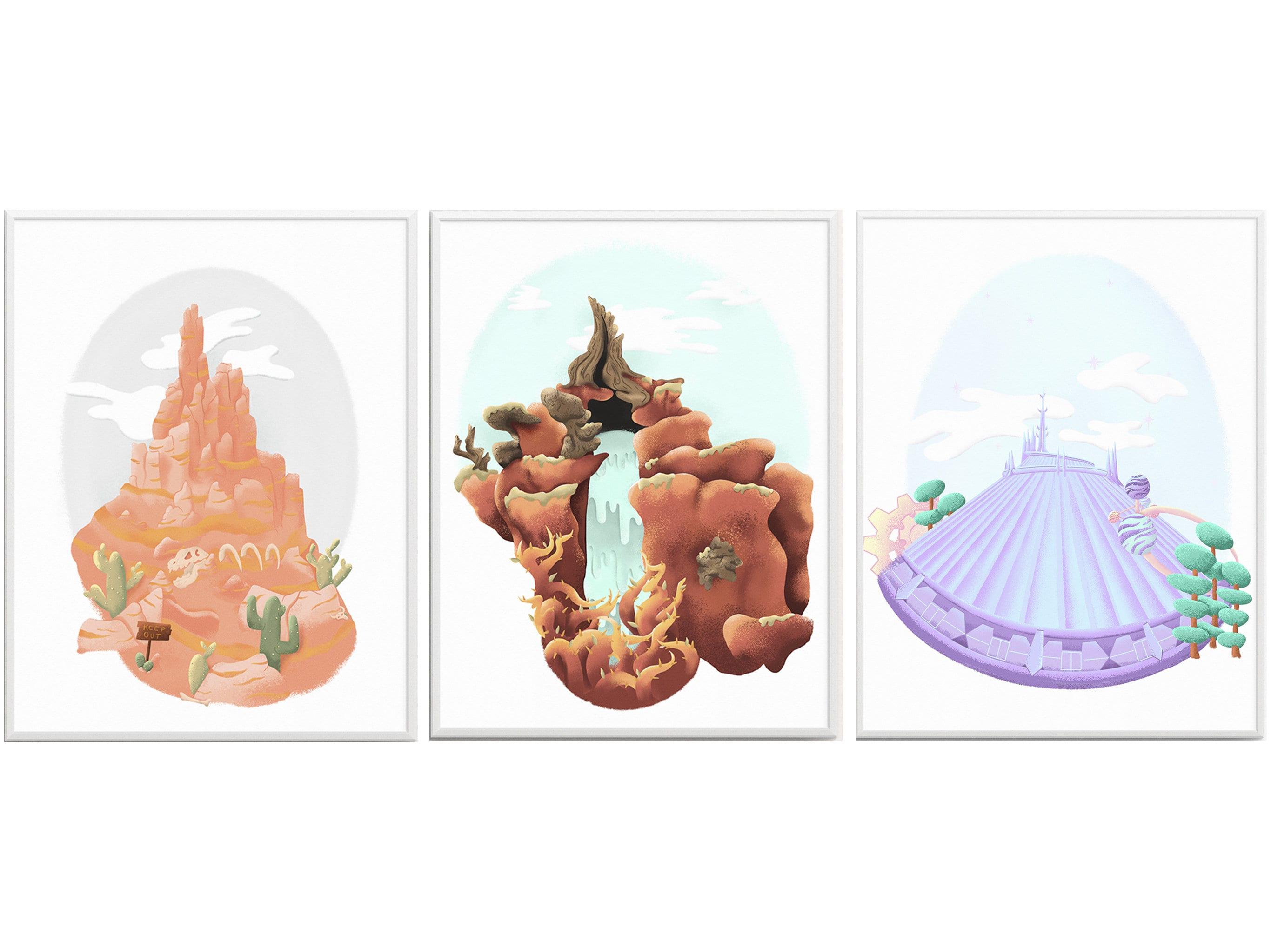 8e3da590f4eb0 Magic Kingdom Mountains Illustration Print SET OF 3 Magic | Etsy