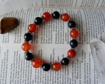 Carnelian + Black Onyx - gemstone bracelet, mala bracelet, yoga bracelet, meditation bracelet, healing bracelet, crystal bracelet
