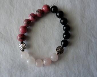 Rhodonite + Rose Quartz & Black Onyx - gemstone bracelet, mala bracelet, yoga bracelet, meditation bracelet, healing bracelet, crystal