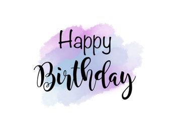 "Happy Birthday 2"" Gift Tag - Blue Pink"