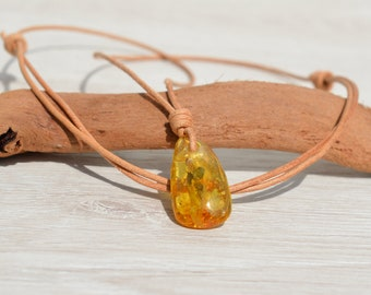 Baltic Amber Necklace Minimalist Necklace Baltic Amber Pendant  Genuine Baltic Amber Honey Amber Authentic Amber natural leather cord