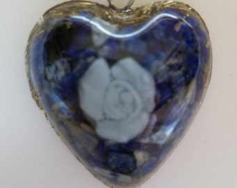 Blue Rose with Lapis Lazuli and Brass Orgonite Pendant