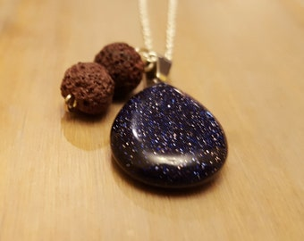 Aromatherapy Four-In-One Gemstone and Lava Stone Necklace