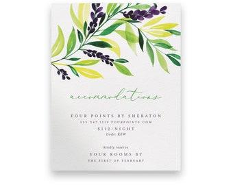 Greenery Enclosure Card/Greenery Wedding Invitation Suite/Wedding Invite/Invitation Suites/Foliage/Floral/Greenery Invitation/Purple/Yellow