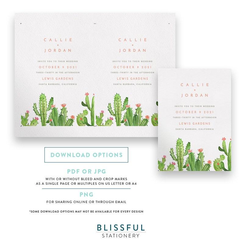 Editable Template Summer Wedding Printable Watercolor Cactus Wedding Invitation W001 Succulent Wedding Invitation INSTANT DOWNLOAD