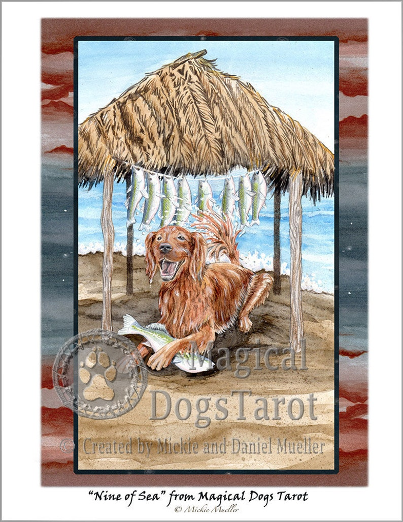 Nine of Sea (Nine of Cups) Print from Magical Dogs Tarot
