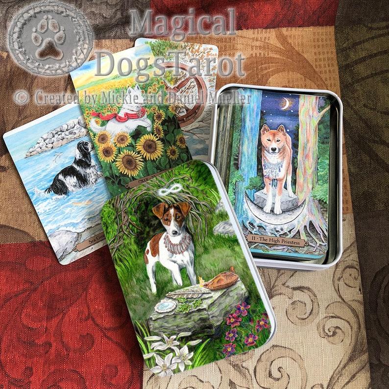 The Mage Card from Magical Dogs Tarot Tarot Tin