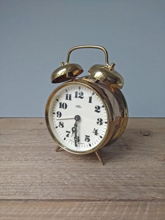 Vintage twin bell alarm clock, gold, table clock, bedroom