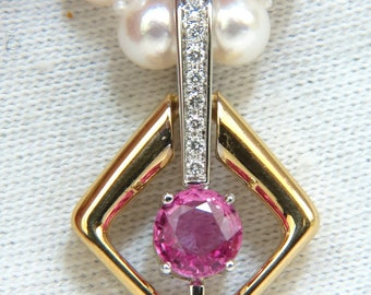 18KT 1.83CT Natural Vivid Pink Sapphire Enhancer & Japanese Pearl Necklace