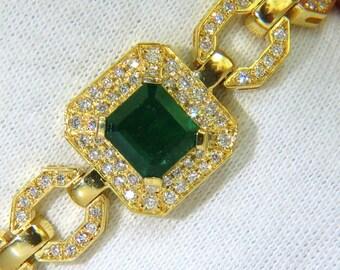 6.25CT Natural Emerald Diamond Bracelet 18KT Greek Linked Deco