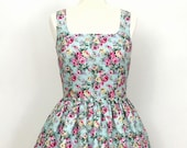 Duck Egg Floral Print Vintage Style Dress with Pleat Detail