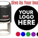 "2"" Logo Stamp - Custom Stamp - Personalized Business Stamp Self-Inking Black Red Blue Black Ink - Custom Round Business Stamp Large"