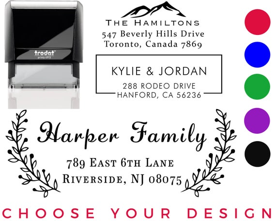 Customized Stamp Black Red Blue Purple Green Ink Address Stamp 20 Designs to Choose! Personalized Wedding Invitation Stamp Self-Inking Return Address Mail 3 Lines Custom Address Stamper