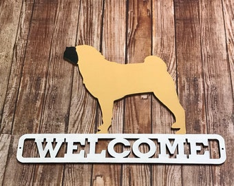 Handpainted Chinese Shar Pei Sharpei Dog Laser Cut Wood Welcome Sign
