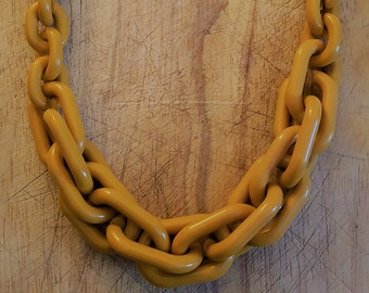 Mustard yellow chunky plastic chain necklace