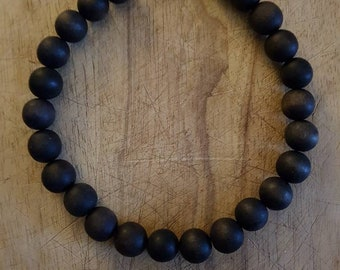 Black wooden bead necklace