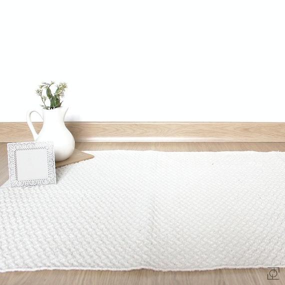 Alfombra Blanca 100% algodon. Alfombra Blanca . Alfombra | Etsy