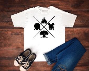 Four Park Regular T Shirt - Walt Disney World - Magic Kingdom - EPCOT - Animal Kingdom - Hollywood Studios