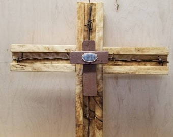 Barb wire cross with faith, wall hanging