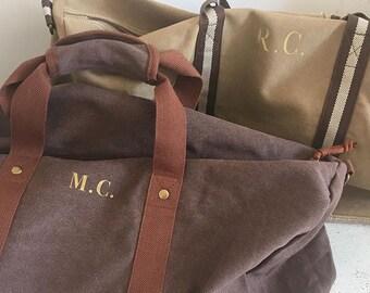95acea10bc01 Personalised Monogram Vintage Holdall Weekend Bag Mens