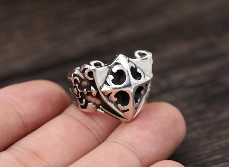Sterling silver rings sterling silver men/'s ring,punk ring,silver personalized ring Vintage silver rings