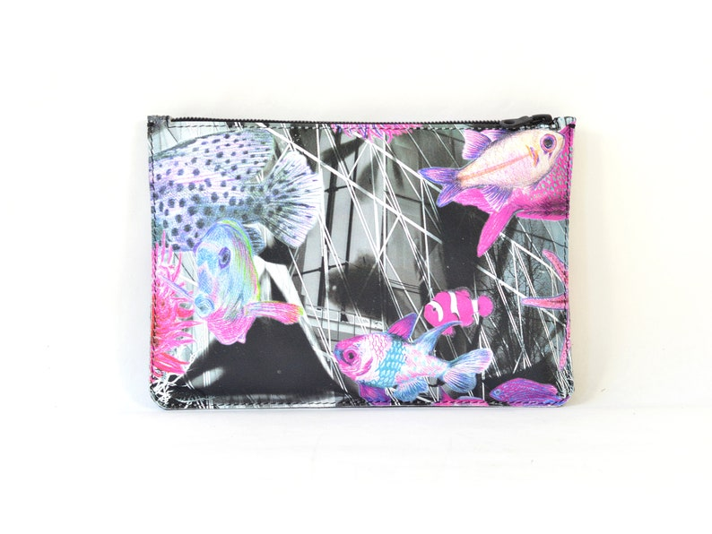 Printed Leather Fathoms Clutch image 0