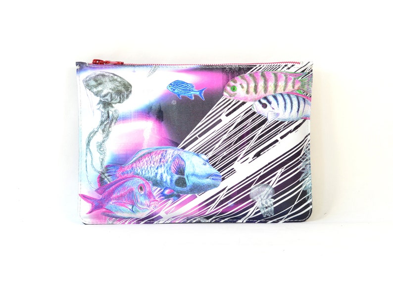 Printed Leather 'Spaced Out' Clutch image 0
