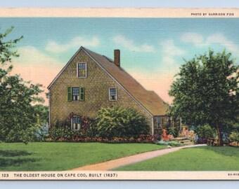 02b117fc00 Vintage Postcard Massachusetts Sandwich Shawme Lake Oldest Cape Cod House  Linen Unposted 1930s Gift Beach House Decor
