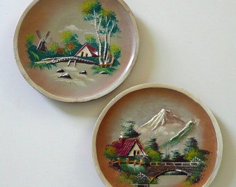 """Hand Painted Vintage Rustic Bas Relief Decorative Plate Set - Made in Japan - 7"""" Wide"""