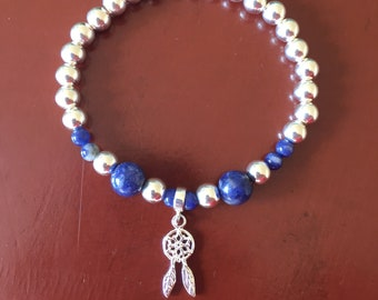 Sodalite and Sterling Silver Dreamcatcher Stretch Bracelet