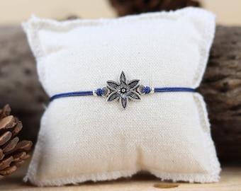 Macrame bracelet, edelweiss, sliding knot, flower bracelet, gift, friendship bracelet, edelweiss bracelet, wish bracelet, charm bracelet
