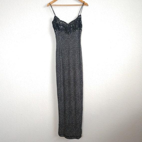 Leonard Paris sequin lace detail maxi dress