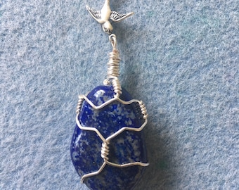 Large Wrapped Lapis Lazuli Pendant on Long Silver Plated Chain, with Swallow
