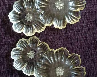 2 Rare Hazel Atlas Daisy Sunflower yellow snack plates