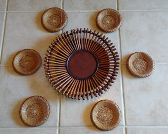 Vintage Weod/Cane and wicker plates for Walldecor