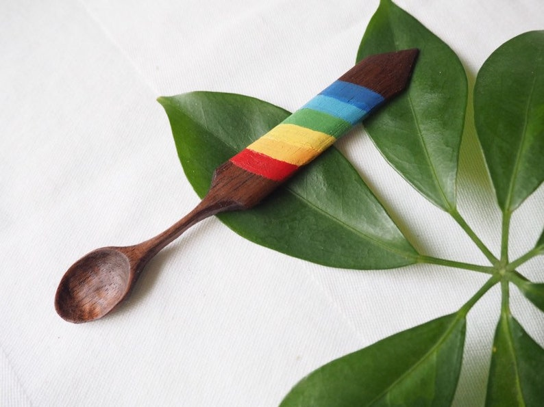 Rainbow wooden teaspoon artisan unique hand carved wood spoon gift marmalade spoon short