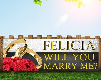 WILL YOU MARRY ME MARRIAGE PROPOSAL BANNER LARGE ADD ANY TEXT PERSONALISATION