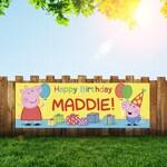 Peppa Pig Personalized 6x2 Vinyl Birthday Banner Free Shipping