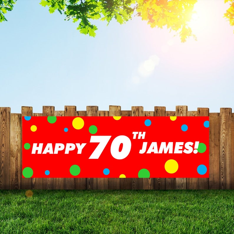 70th Birthday Party Banner Personalized/Custom Decoration Fast image 0