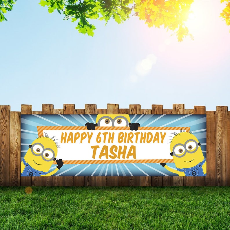 Minion Birthday Party Banner Personalized/Custom Decoration image 0