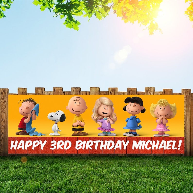 Snoopy Birthday Party Banner Personalized/Custom Decoration image 0