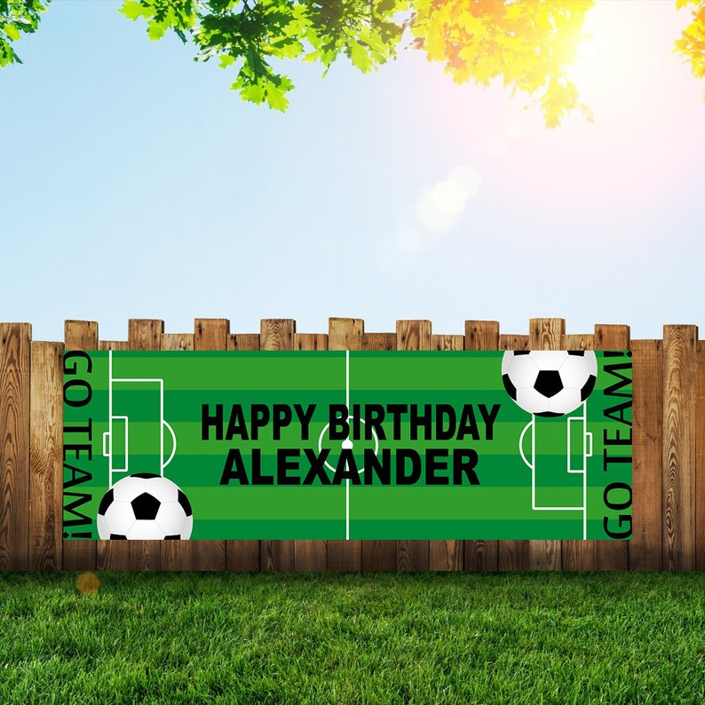 Soccer Birthday Party Banner Personalized/Custom Decoration image 0