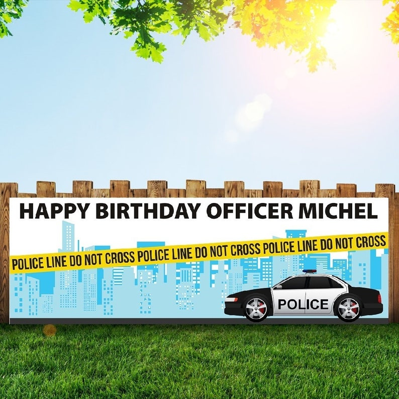 Police Birthday Party Banner Personalized/Custom Decoration image 0