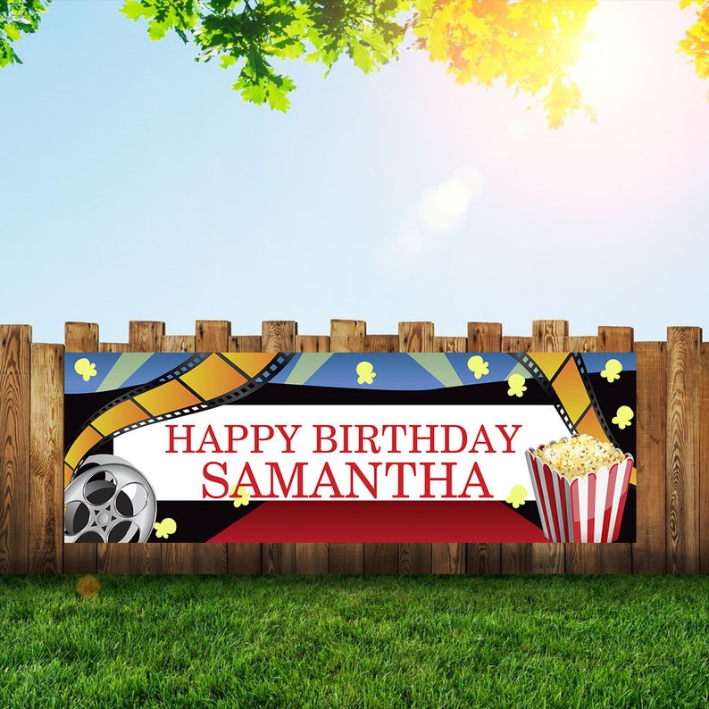 Movie Night Birthday Party Banner Personalized/Custom image 0